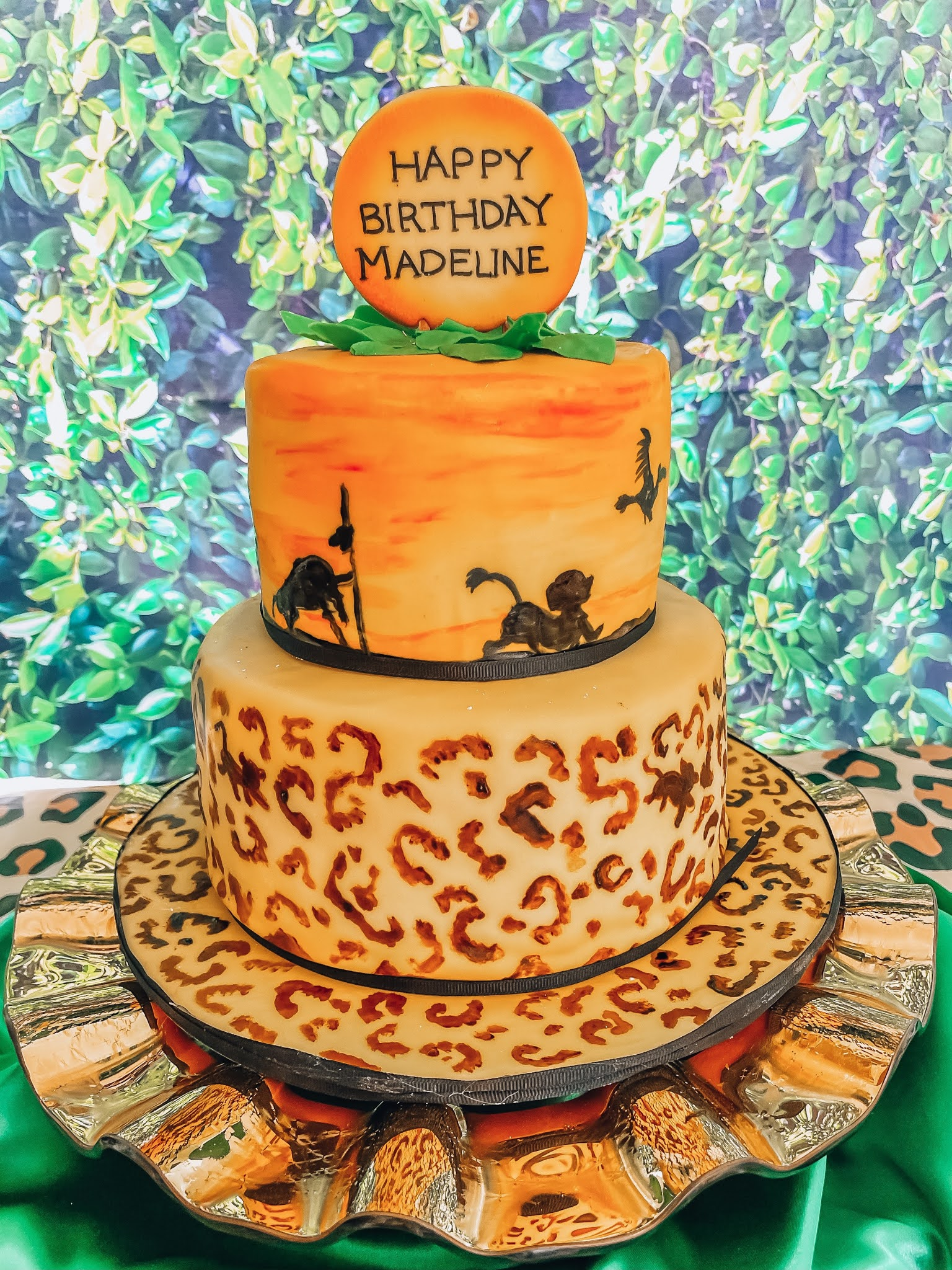 Madeline's Lion King 6th Birthday Party - Lion King Cake - Something Delightful Blog #partyideas #kidsbirthdayparty #lionkingparty #wildoneparty #safariparty #animalprintparty