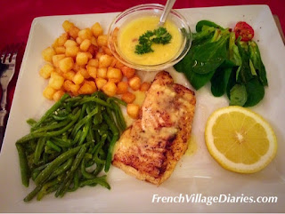 French Village Diaries volunteering meal out haddock main course