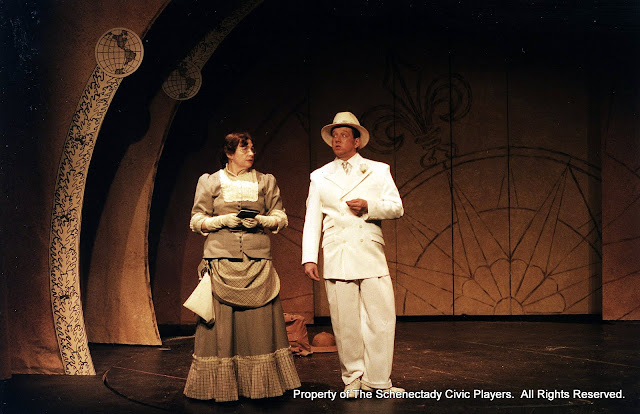 Rita Russell and Colin McCarty in ON THE VERGE - January/February 2000.  Property of The Schenectady Civic Players Theater Archive.