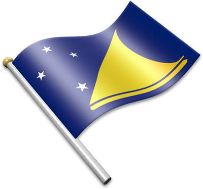 The Tokelauan flag on a flagpole clipart image