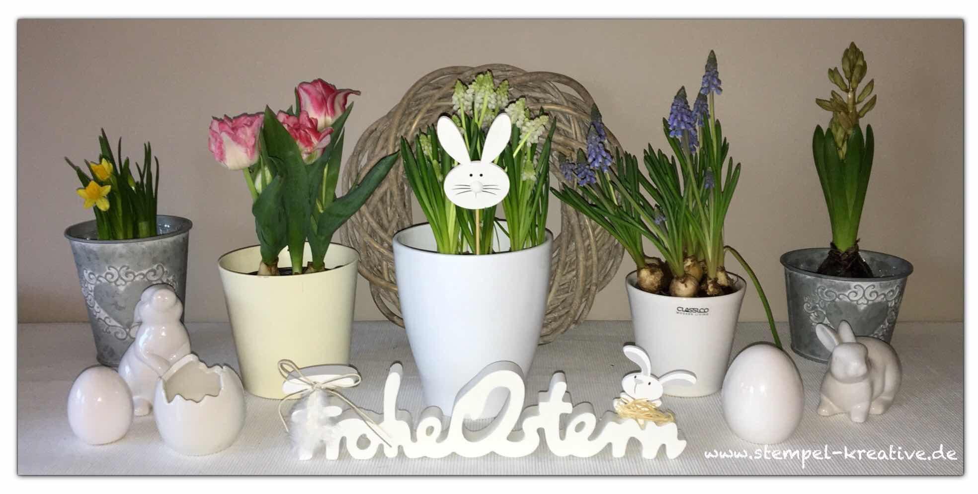Frohe Ostern Deko Frühlingsblumen