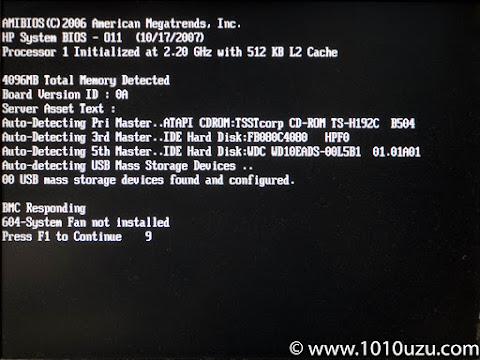 BIOSでケースファンがないとのエラー