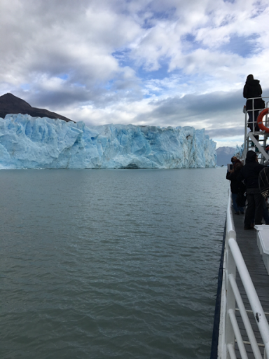 view of Perito Moreno Glacier from our boat on the lake. March 2017. In Patagonia, Argentina