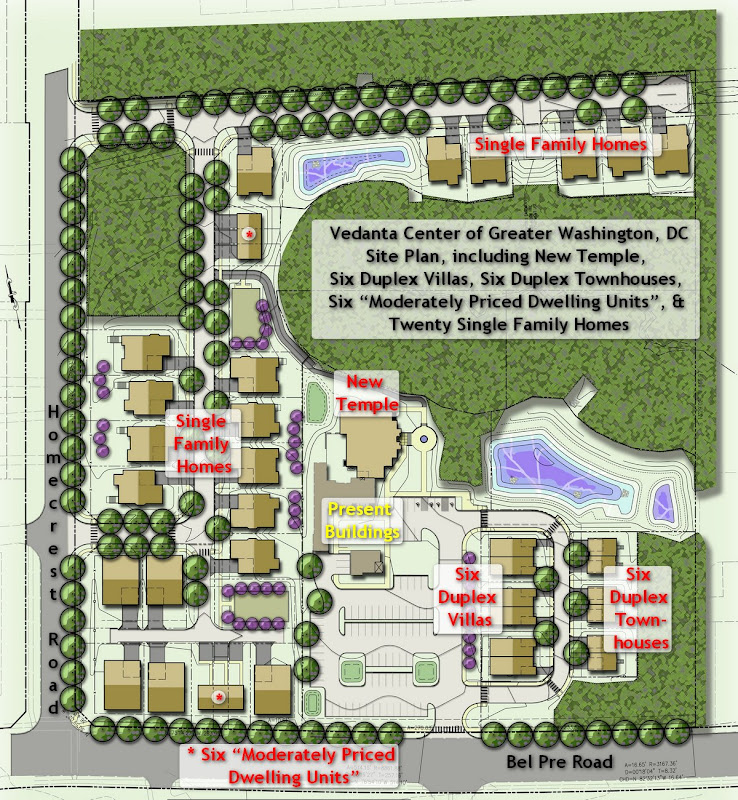 Site Plan, with New Temple, Duplex Villas and Townhouses, and Single-family Homes