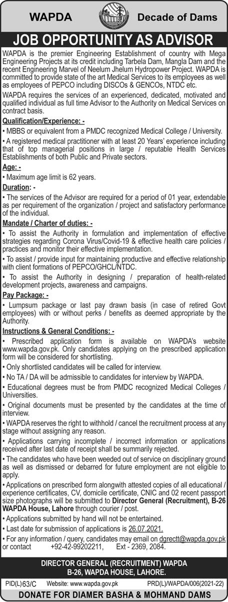 Jobs in WAPDA 2021 Advertisement