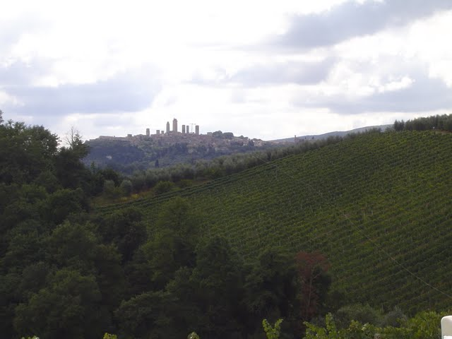 In the distance the towers of San Gimignano