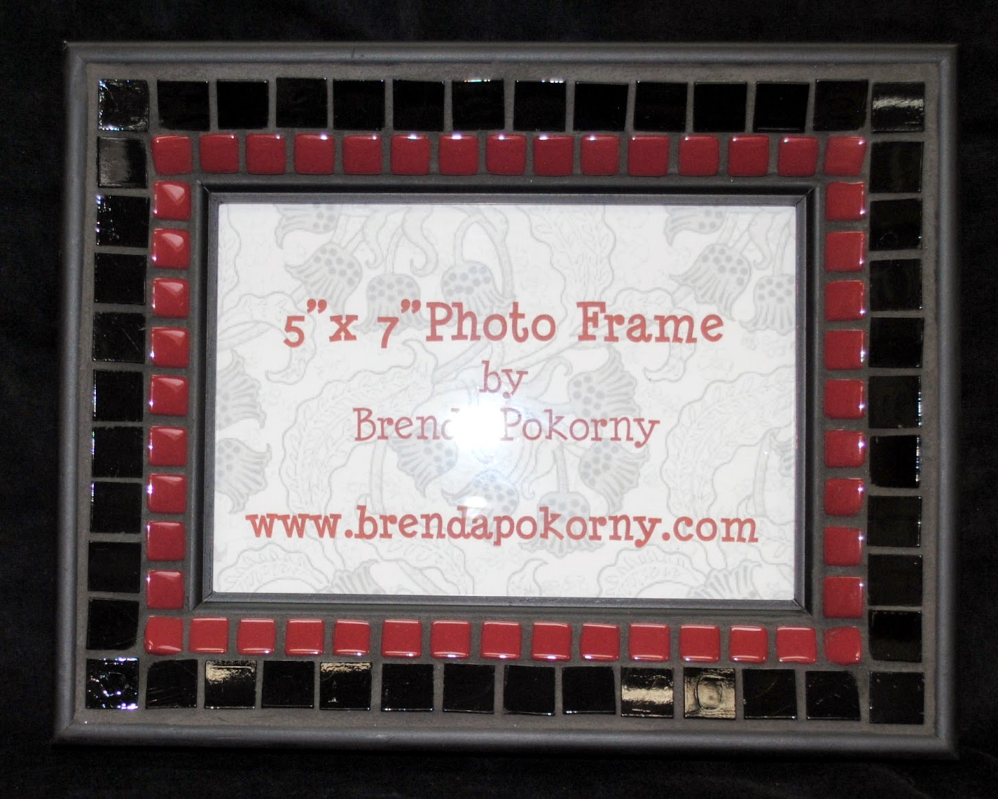 "Maroon & Black 5"" x 7"" Mosaic Photo Frame MOF1237"