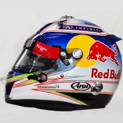 Il casco di Ricciardo? Abbastanza anonimo, anche se esteticamente l'accostamento bianco-blu non stona