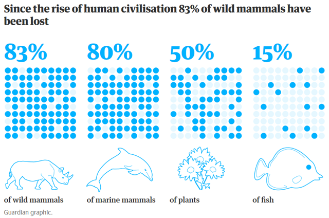 A study in PNAS by Yinon M. Bar-On, Rob Phillips, and Ron Milo, finds that since the rise of human civilisation, 83 percent of wild mammals have been lost. Graphic: The Guardian