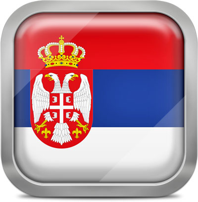 Serbia square flag with metallic frame