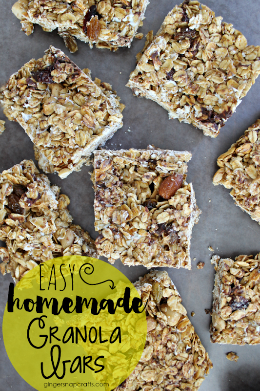 Easy Homemade Granola Bars at GingerSnapCrafts.com #granola #recipe