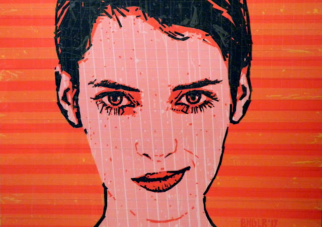 bronya & sonya benigeler  tape art portrait of Winona Ryder