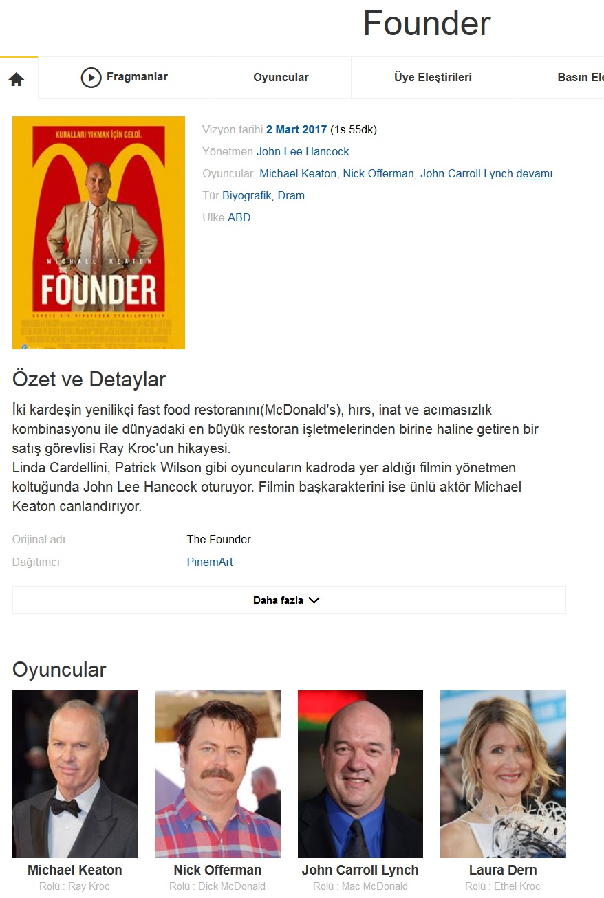 The Founder 2016 - 1080p 720p 480p - Türkçe Dublaj Tek Link indir