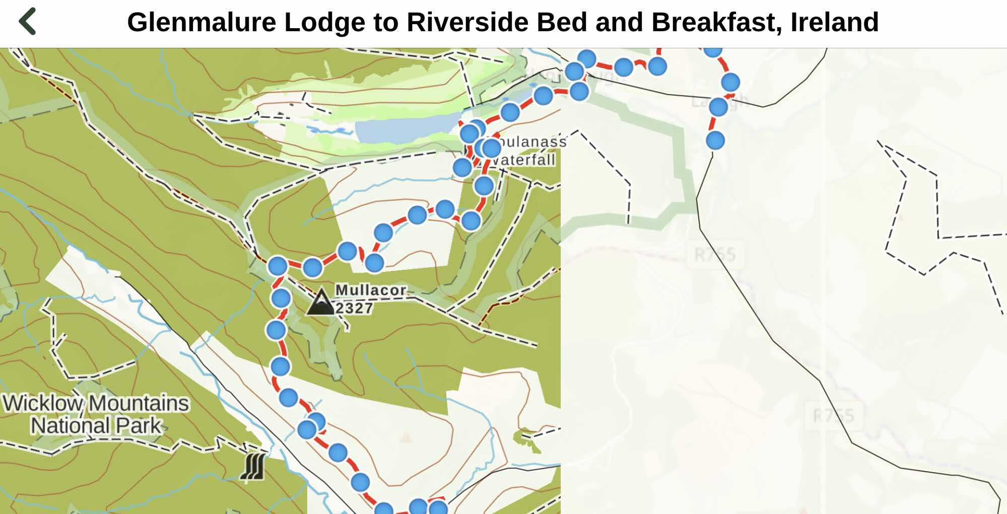 overview map. Glenmalure to RiversideB and B