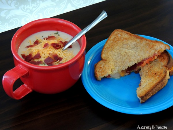 Grown up Grilled Cheese Progresso® Light Creamy Potato with Bacon and Cheese