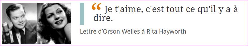 Lettre d'Orson Welles