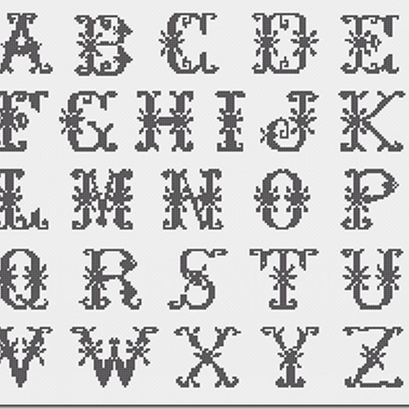 Letras abecedario en punto de cruz