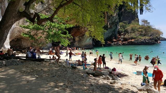 Southern end of Phra Nang Beach, near the Princess Cave, where people were doing rock climbing. At Railay, Krabi