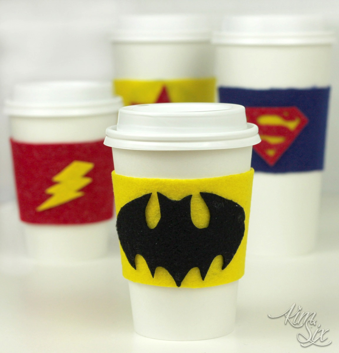 Super hero felt cup coozies