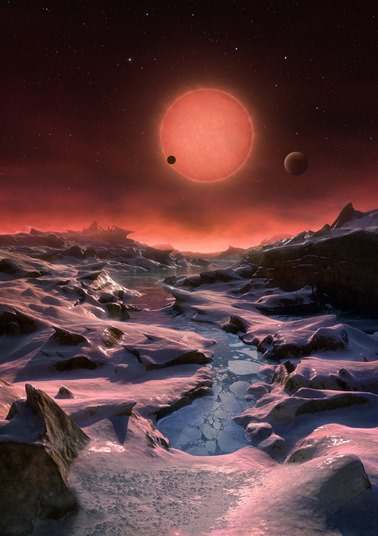 Artist's impression of the ultracool dwarf star TRAPPIST-1 from the surface of one of its planets