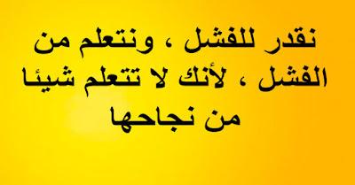 - نقدر للفشل ، ونتعلم من الفشل ، لأنك لا تتعلم شيئا من نجاحها.