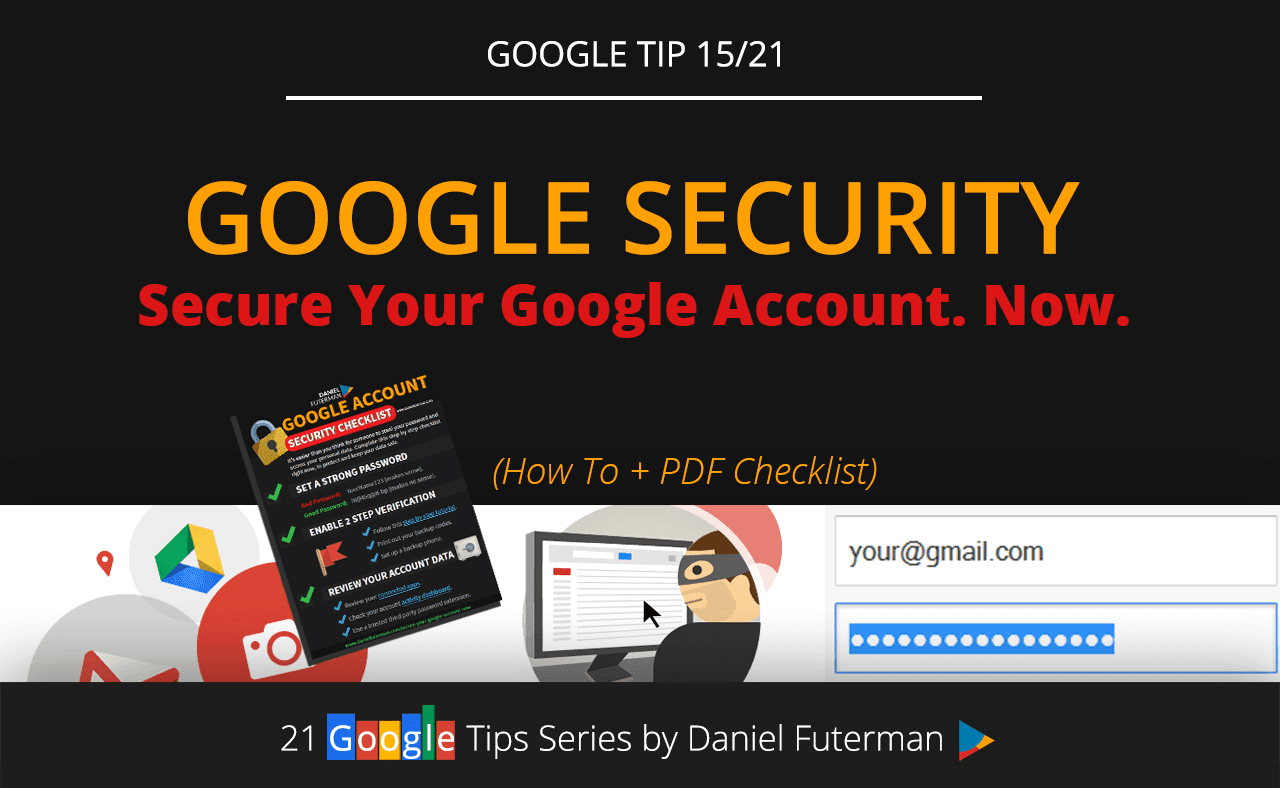 Secure Your Google Account. Now. www.danielfuterman.com/secure-your-google-account-now/  It's easier than you think to steal your password.  In one of the my most comprehensive posts in the 21 Google tips series, I cover one of the most important topics - account security.  Your Photos are stored on Google Plus, Documents & Files on Google Drive, Emails & Contacts on Gmail, Schedule on Google Calendar, Addresses on Google Maps, Bookmarks & Passwords on Chrome, Search History & Trends on Google Search…  You get the point.  Surely, you don't want this information to fall into the wrong hands.  In this post I'll show you exactly what you need to do (right now), to protect your personal data and keep it safe: www.danielfuterman.com/secure-your-google-account-now/  #GoogleAccount   #Security   #Password   #2StepVerification