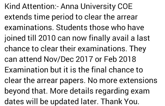 ANNA UNIVERSITY - Extension Of time For Passed Out Candidates to Write ARREARS ~ Anna University ...