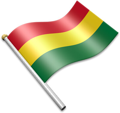 The Bolivian flag on a flagpole clipart image