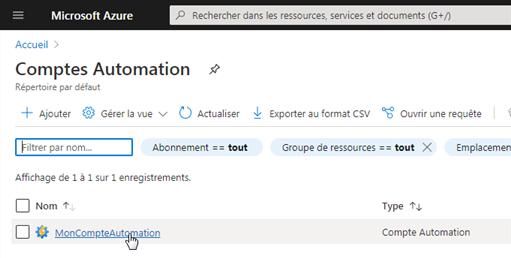 Mon Compte d'Automation dans la liste des comptes d'Automation