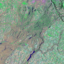 Ice Age Flood features across the Columbia Basalt Plateau (Landsat7)