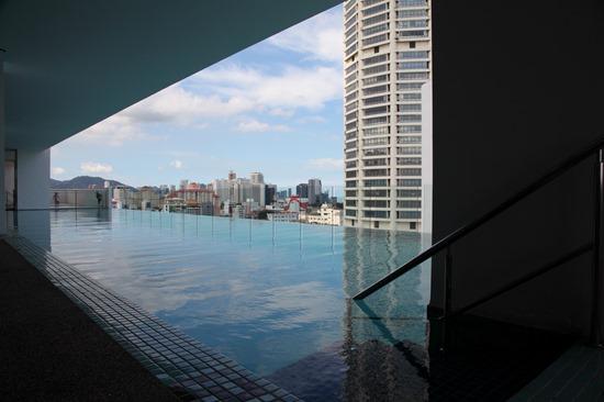 Salt-water infinity pool at The Wembley , Penang