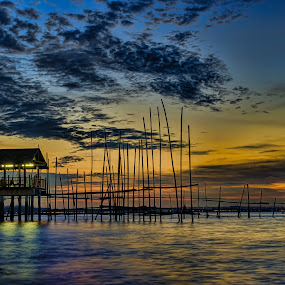 Rainbow Sunset by Maskun Ramli - Landscapes Sunsets & Sunrises ( rainbow sunset water hut pole )