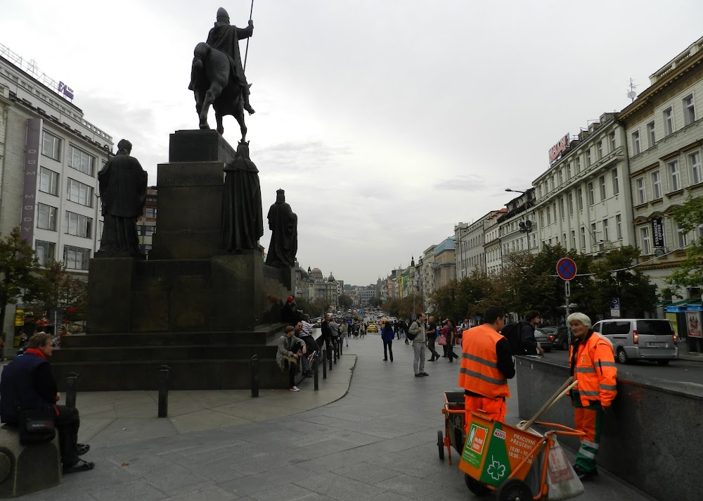my first views of downtown Prague, upon emerging from the Metro at the Museum stop....