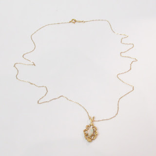 14K Gold and Opalite Pendant Necklace