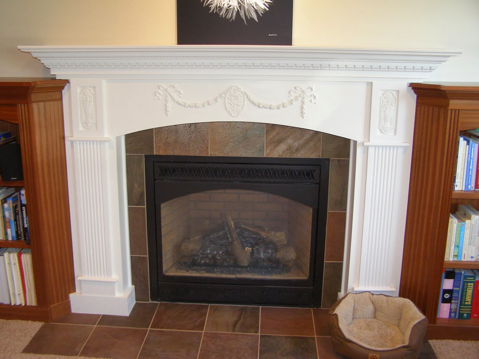 library entertainment center and updated fireplace