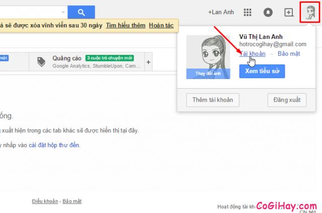 vào trang quản lý tài khoản gmail