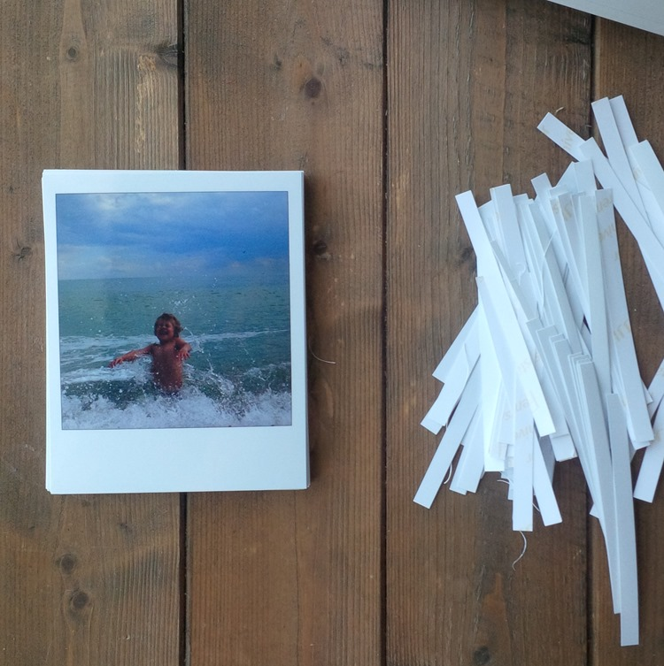 photos trimmed in to polaroid frames