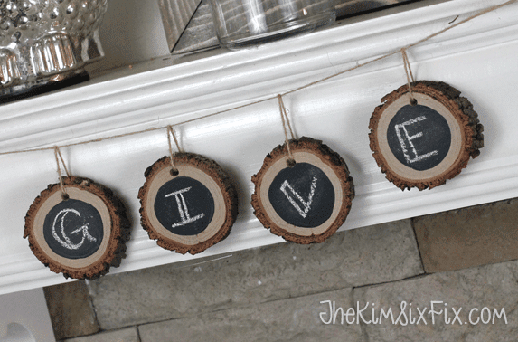 Hanging chalkboard wood slice garland