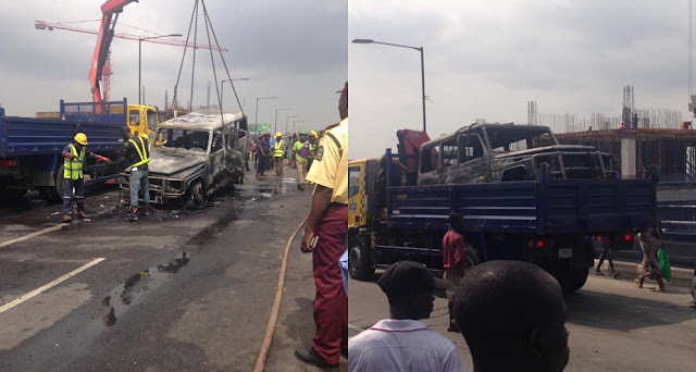Governor Fayose Survives Fatal Accident As His Mercedes Gwagon Catches Fire In Lagos (Photos)