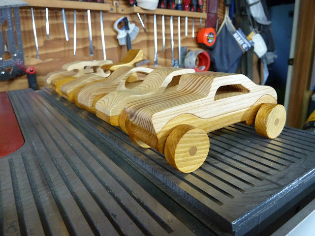 Handmade Wood Toy Cars From The Speedy Wheels Series Group Shot
