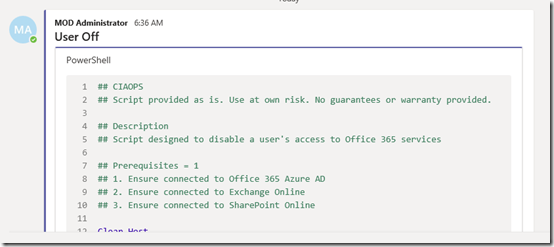 Posting code snippets to Microsoft Teams – CIAOPS