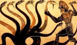 Historische Darstellung: Herakles kämpft mit der Hydra.