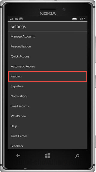 Outlook mail for Windows 10 Mobile - Settings - Reading (www.kunal-chowdhury.com)