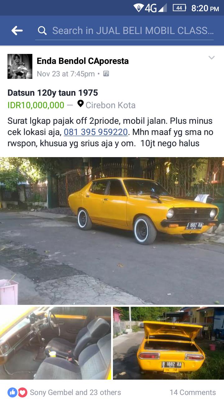 Lapak Sedan Retro Japan Dijual Datsun 120Y Tahun 75 CIREBON
