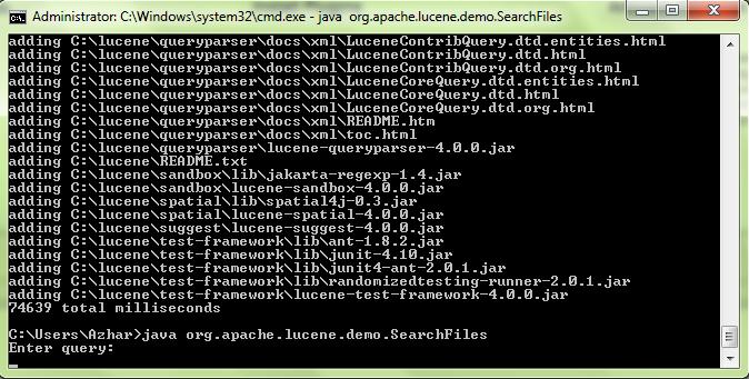 Melakukan pencarian query dengan lucene search engine