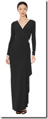 Lauren Ralph Lauren long sleeved black wrap front gown