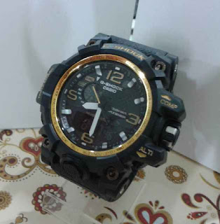 jam tangan G Shock Dual time hitam list Gold