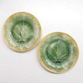 Antique Majolica Plate Pair