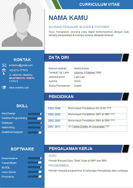 Contoh CV Profesional Format Word