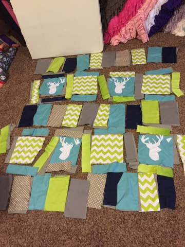Deer Rag Quilt Laid out Before Being Sewn